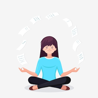 Woman doing yoga in padmasana lotus pose with flying paper