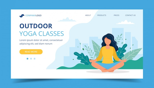 Woman doing yoga in the park landing page