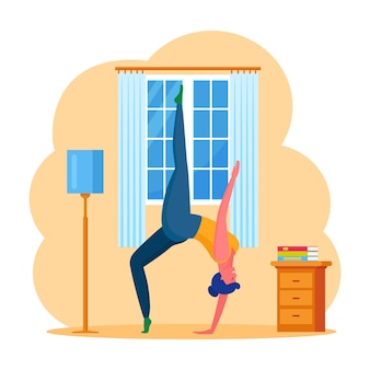 요가, 집에서 필라테스를하는 여자. 창 근처 연습을 하 고 소녀입니다. 가정 훈련, 스트레칭. 스포츠 활동. 만화 디자인