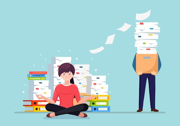 Woman doing yoga. pile of paper, busy businessman with stack of documents in carton box.