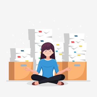 Woman doing yoga. pile of paper, busy stressed employee with stack of documents in carton box.