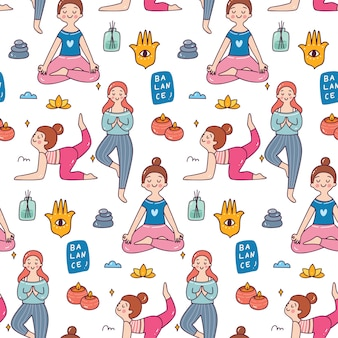 Woman doing yoga pose seamless pattern