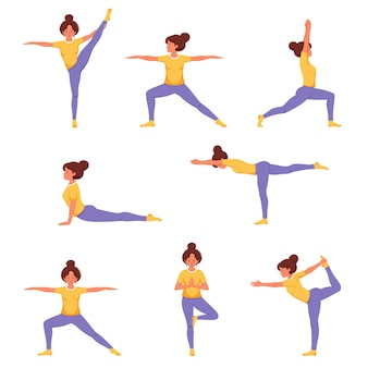 Woman doing yoga set of yoga poses healthy lifestyle wellbeing relax recreation