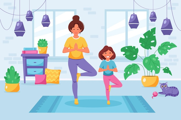 Woman doing yoga with daughter in cozy interior