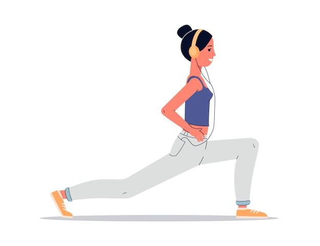 Женщина делает йогу с наушниками мультипликационная спортсменка в позе выпада