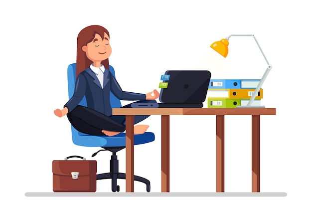 Woman doing yoga at workplace in office. worker sitting in padmasana lotus pose on chair, meditating, relaxing, calm down and manage stress. flat design