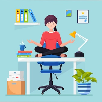 Woman doing yoga at workplace in office. worker sitting in padmasana lotus pose on desk, meditating, relaxing, calm down and manage stress.