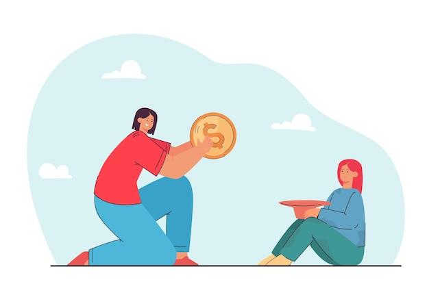 Woman donating money to poor girl. flat illustration