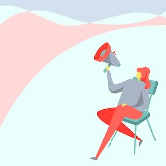 여자 그림을 들고 확성기를 들고 의자에 앉아 다리를 꼬고 레이디 디자인을 들고