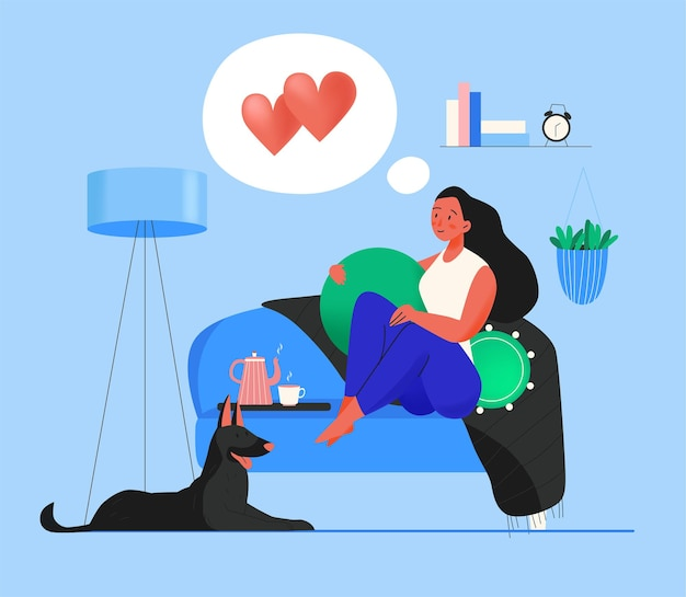 Woman dreaming about love at home illustration