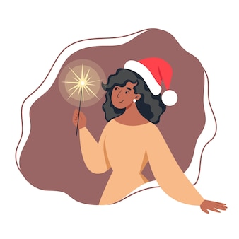Woman in dress and santa hat holding sparkler in flat style