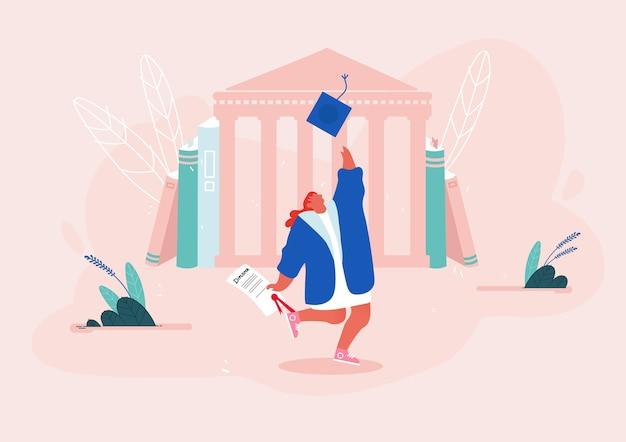 Женщина в мантии с дипломом