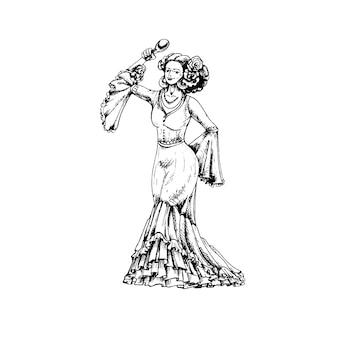 Женщина, одетая в мексиканскую национальную одежду и танцует с маракасами винтаж вектор штриховкой черный