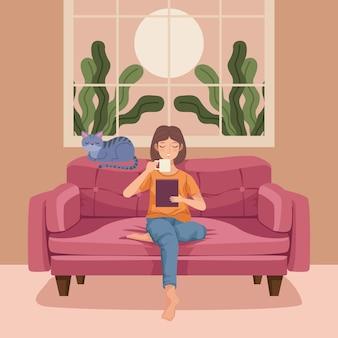 Woman drinking coffe in livingroom