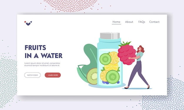 Woman drinking healthy beverage for detox landing page template. tiny female character put huge raspberry in bottle with infused water, lemonade or juice with fruit slices. cartoon vector illustration