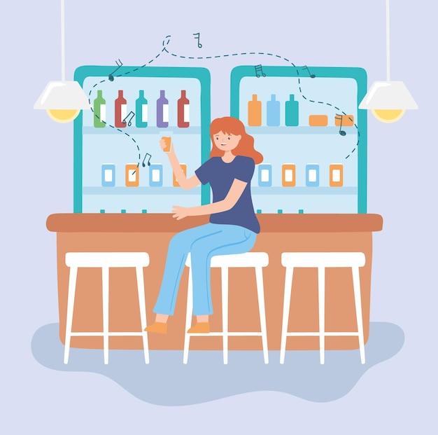 술집에서 마시는 여자