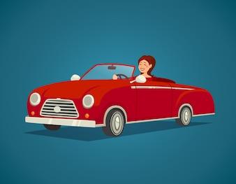 Woman Driver Illustration