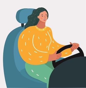 Woman driving at night