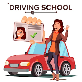 Woman in driving school