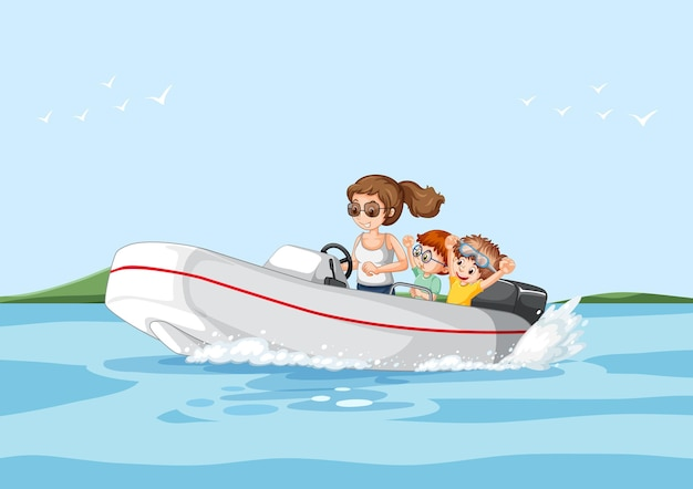 A woman driving speedboat in the river scene