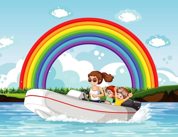 Una donna alla guida di un motoscafo con bambini nel fiume