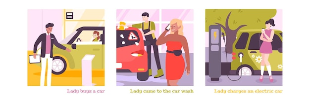 La donna alla guida di composizioni quadrate imposta illustrazione
