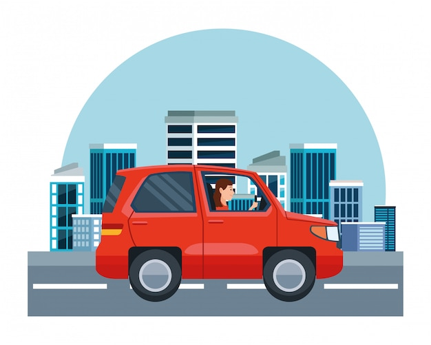 Woman driving suv vehicle sideview cartoon