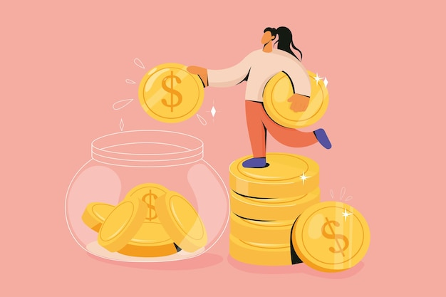 Woman drop coin into jar collecting money