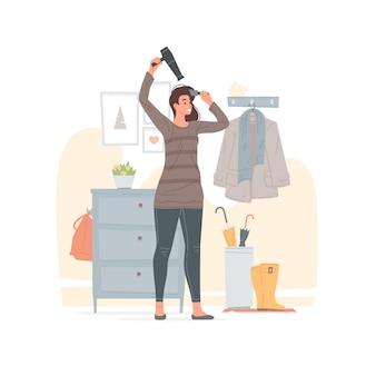 自宅の廊下で髪を乾かして女性