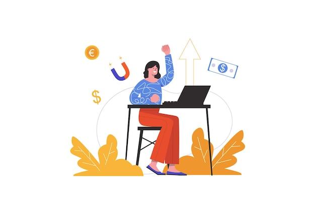Женщина зарабатывает в интернете, работая на ноутбуке дома. деловая женщина увеличивает доход в интернете, люди изолированы. фриланс и концепция электронного бизнеса. векторная иллюстрация в плоском минималистском дизайне