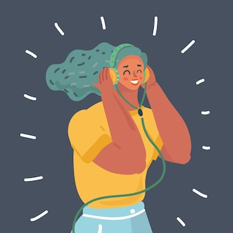 Woman in earphones