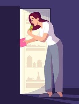 샌드위치 세미 플랫 rgb 색상 벡터 일러스트 레이 션을 먹는 여자. 파란색 배경에 늦은 간식을 먹는 스트레스를 받는 소녀. 감정적인 식사, 스트레스 관리. 불면증 문제