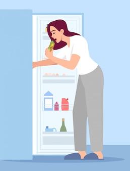 Woman eating sandwich semi  rgb color  illustration