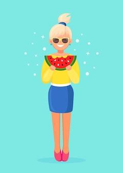 スイカのスライスを食べる女性。夏の時間、ビーチパーティーのコンセプト