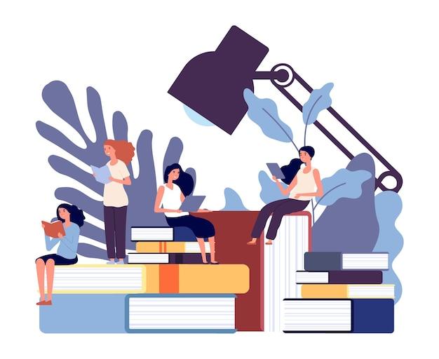여성 교육. 여성은 책을 배우고, 여성은 읽고 지식을 얻습니다. 아름다운 소녀 연구, 사고 벡터 일러스트 개발. 교육 여성, 소녀 학습 교과서 및 백과 사전