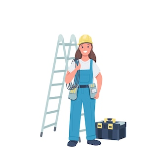 Woman electrician flat color detailed character
