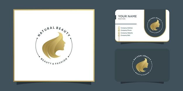 Woman emblem logo abstract with golden unique concept premium vector