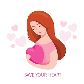 Woman embracing heart shape and taking care of heart shape with tenderness, beauty, cheerful