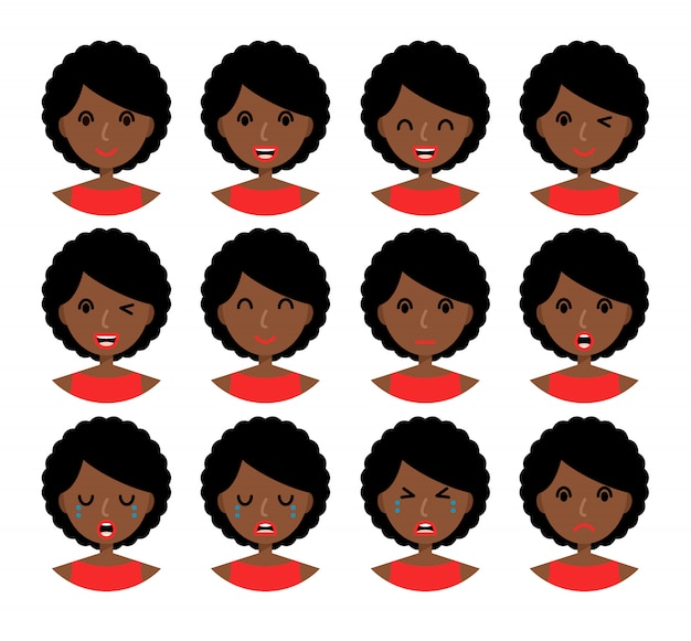 Woman emotions. beautiful african american girl with brown hair.