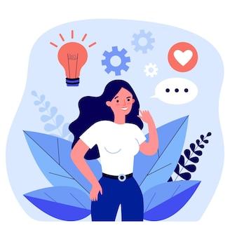 Женщина занимается и делится своим творчеством и идеями. плоские векторные иллюстрации. девушка развивает свои способности, общаясь с единомышленниками. креативность, изобретательность, коммуникационная концепция