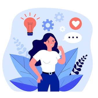 Woman engaged and sharing her creativity and ideas. flat vector illustration. girl developing her abilities, communicating with like-minded people. creativity, ingenuity, communication concept