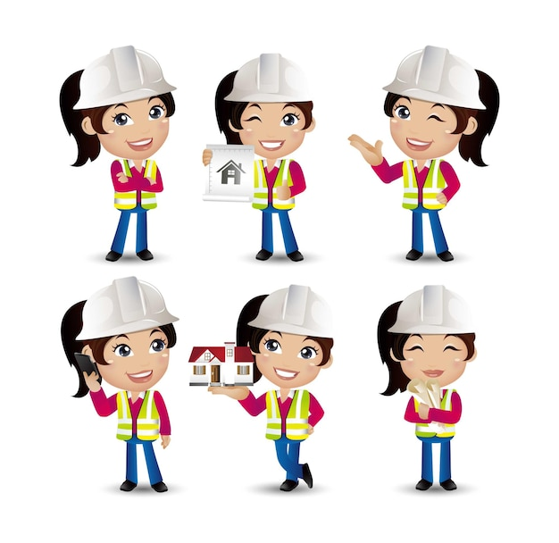 Woman engineer with different poses