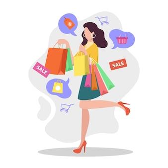 여자 쇼핑 판매를 즐길 수