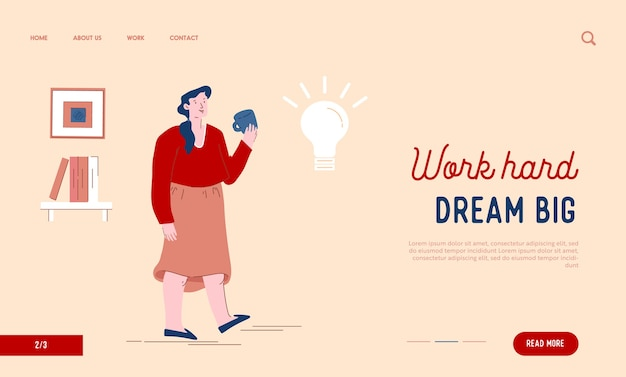 Женщина наслаждается чашкой чая, думая о целевой странице веб-сайта творческой идеи