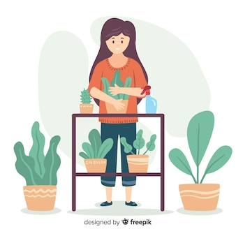 Woman enjoying gardening flat design