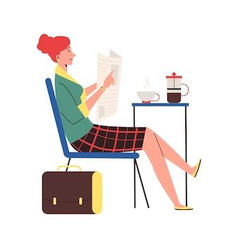 彼女の朝の新聞フラットベクトルイラスト孤立を楽しんでいる女性