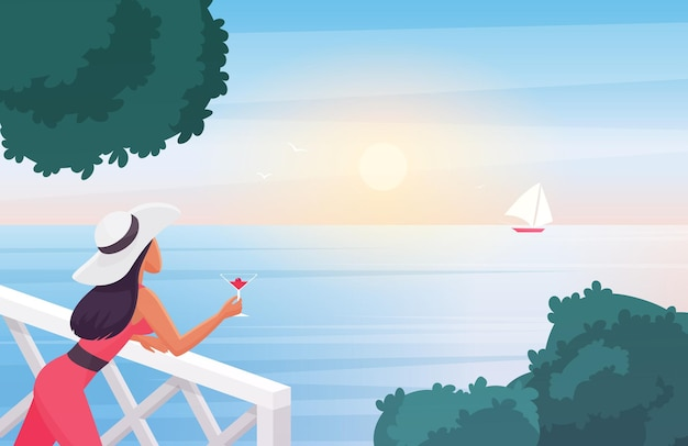 Woman enjoying sunset  illustration.