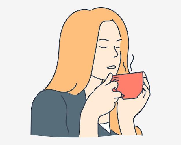 Woman enjoys having coffee hand drawn