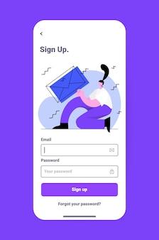 Женщина вводит адрес электронной почты и пароль в приложении для чата на экране смартфона в сети социальных сетей