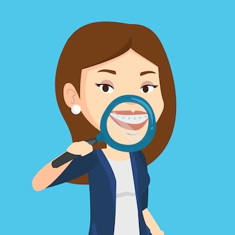 Woman examining her teeth vector illustration.